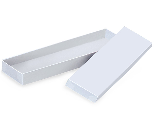 """White Gloss Tie Gift Boxes, 14x4.5x.75"""", 100 Pack"""