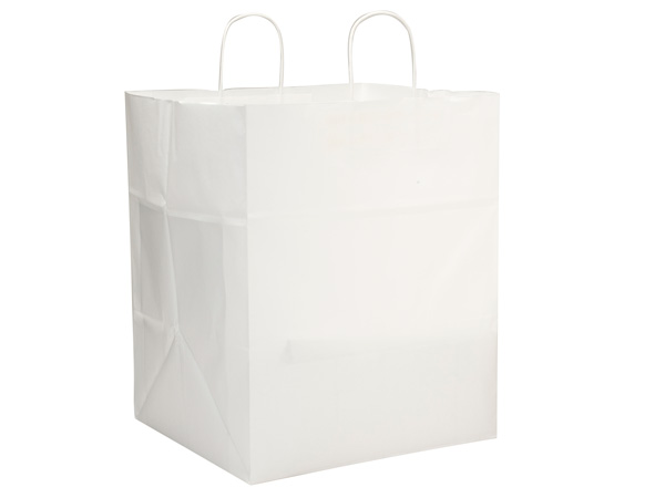 """Take Out White Kraft Paper Bags 200 Pk 14x12x17"""""""