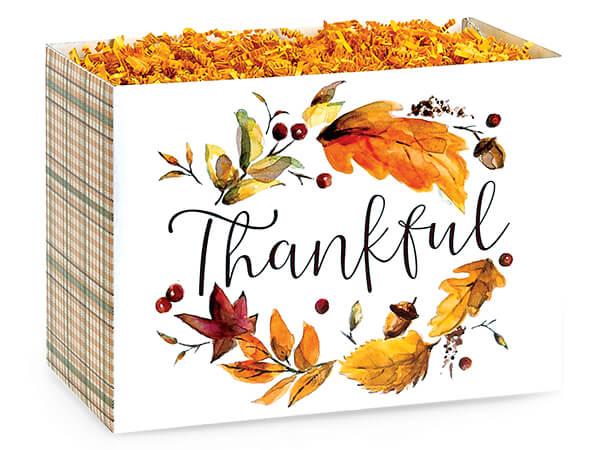 "Thankful Plaid Basket Boxes, Large 10.25x6x7.5"", 6 Pack"