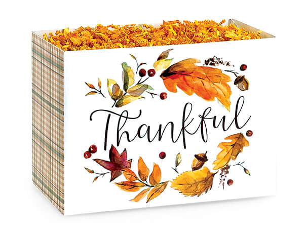 "Thankful Plaid Basket Boxes, Small 6.75x4x5"", 6 Pack"