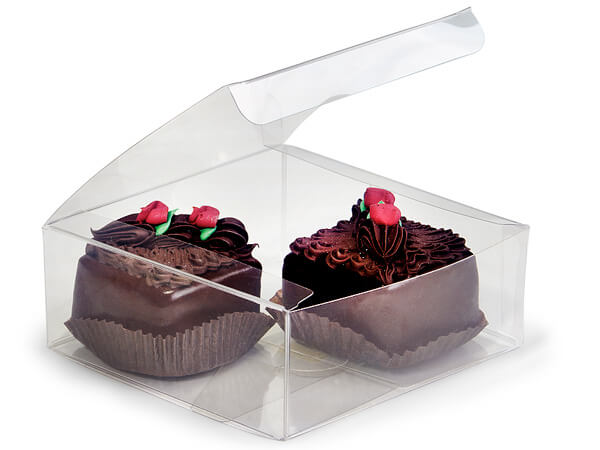 Clear 1 Piece Square Candy Boxes, 4.25x4.25x1.5""
