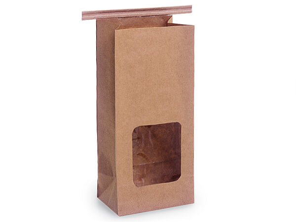 100 PLA Lined 1/2 lb Window Coffee Bags 3-3/8x2.5x7.75