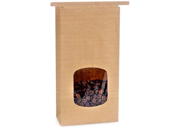 500 PLA Lined 1 lb Window Coffee Bags 4-3/4x2-1/2x9-1/2