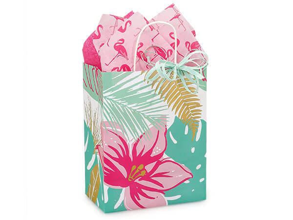 "Tropical Paradise Paper Shopping Bags, Cub 8.25x4.75x10.5"", 25 Pack"