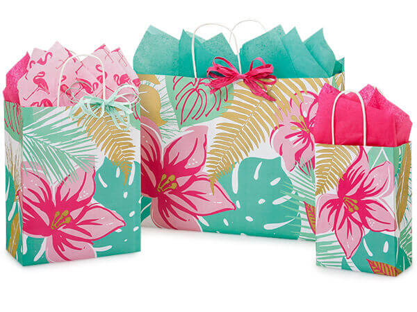 Tropical Paradise Paper Shopping Bags, Small 25 Pack Assortment