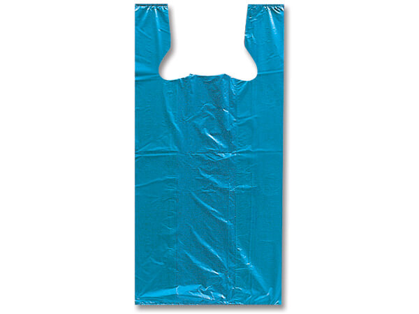 "Blue Recycled Plastic T Sack, Medium11.5x6.5x21.5"", 1000 Pack"