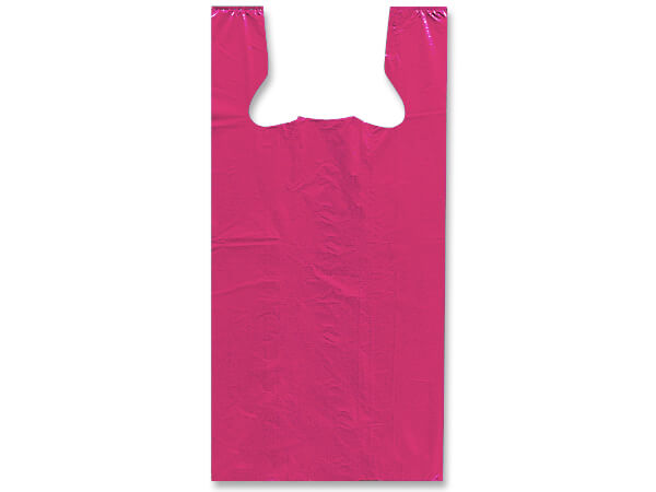 "Pink Recycled Plastic T Sack, Medium11.5x6.5x21.5"", 1000 Pack"