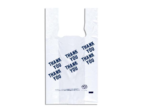 "White Thank You T Sacks 7x5x15"" Recycled .55 mil"