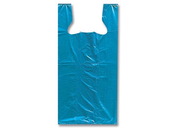 "Blue Recycled Plastic T Sacks, Small 7x5x15"", 1000 pack,  .60 mil"