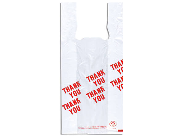 "Thank You T Sacks 8x5x18"" White Recycled T-sacks .55 mil"