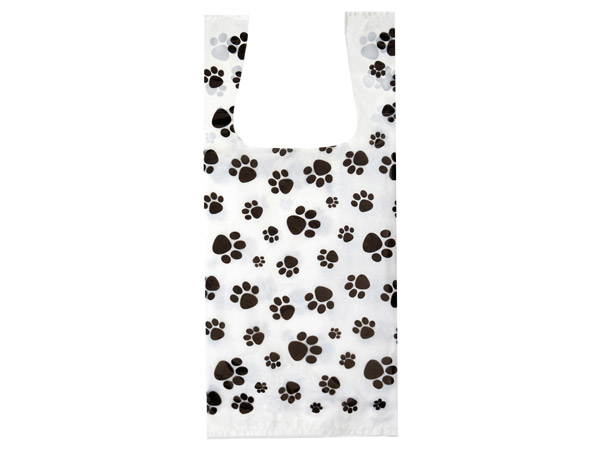 """Paw Print 25% Recycled T Sack 8x5x18""""  1000 pack"""