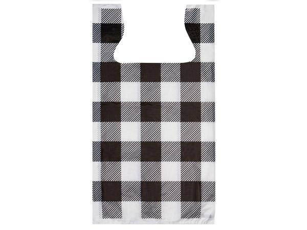 """Buffalo Plaid Plastic T Sacks, 11.5x6.5x22"""", 500 Pack, .65 mil"""