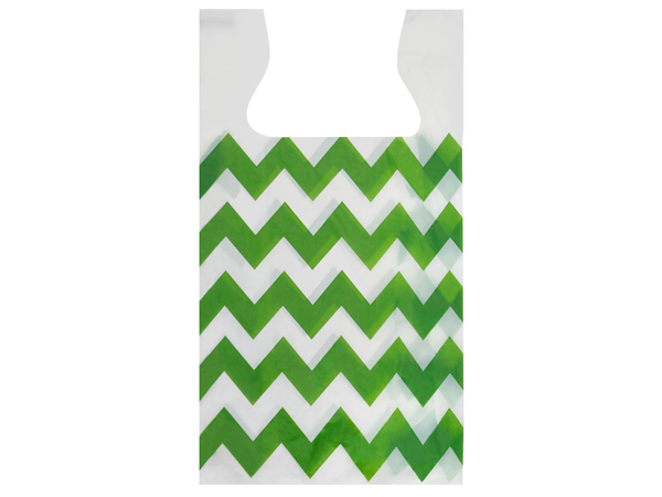 "Chevron Apple Green T Sacks .65 Mil 11.5x6.5x22"" 2-side Print"