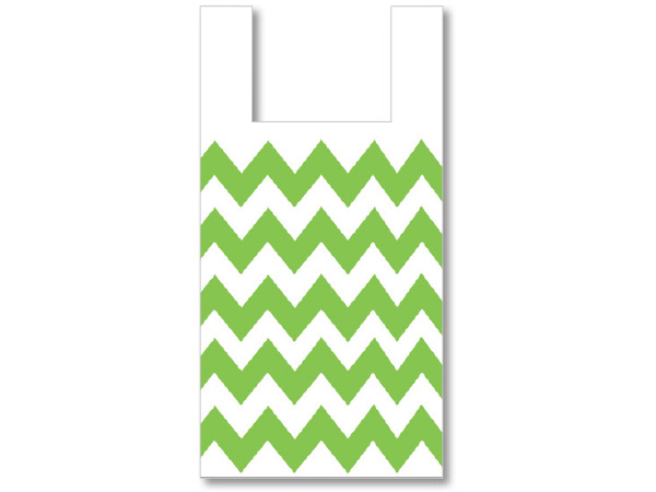 Chevron Apple Green T Sacks .65 Mil 500 Pk 11.5x6.5x22""