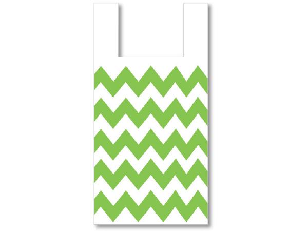 "Chevron Apple Green Plastic T Sacks ,11.5x6.5x22"", 500 pack"