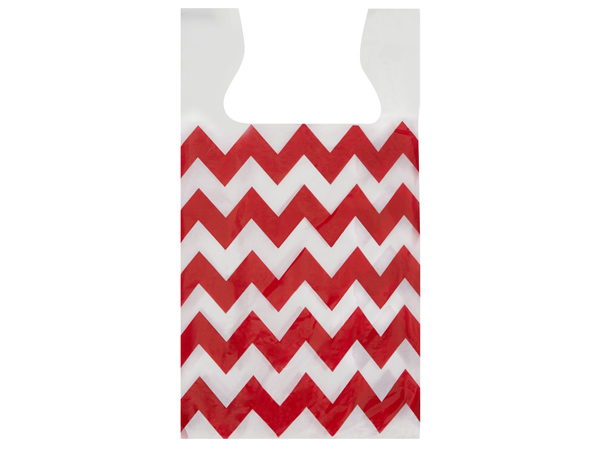 "Chevron Red T Sacks .65 Mil 11.5x6.5x22"" 2-side Print"