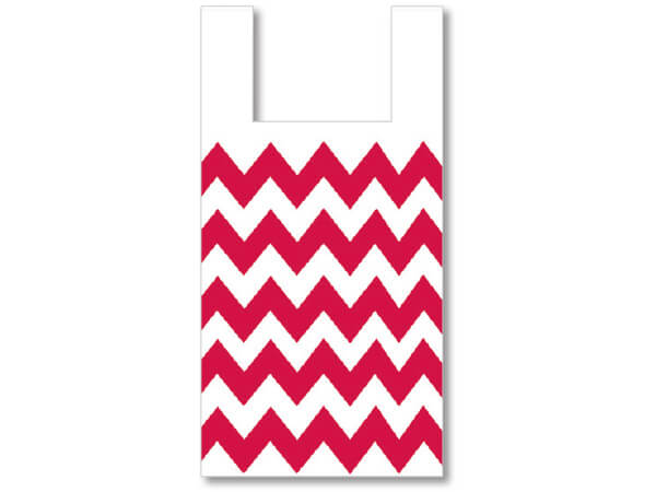 Chevron Red T Sacks .65 Mil 500 Pk 11.5x6.5x22""