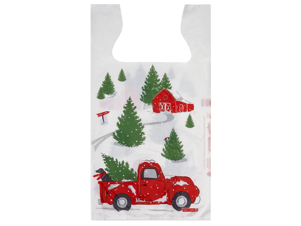 "Christmas Red Truck T Sacks, 11.5x6.5x22"", 1000 pack, .65 mil"