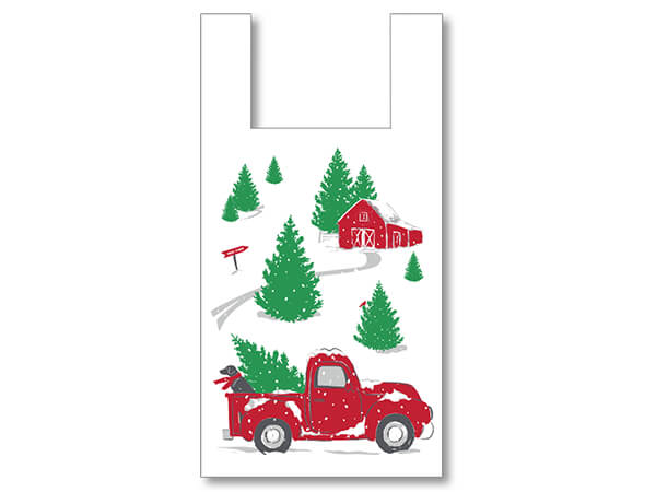 "Christmas Red Truck T Sacks, 11.5x6.5x22"", 500 Pack, .65 mil"