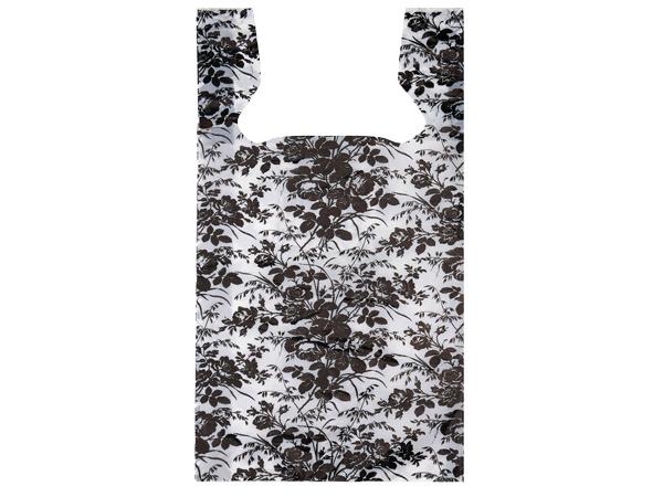 "Floral Toile Plastic T Sacks, 11.5x6.5x22"", 1000 pack, .65 mil"