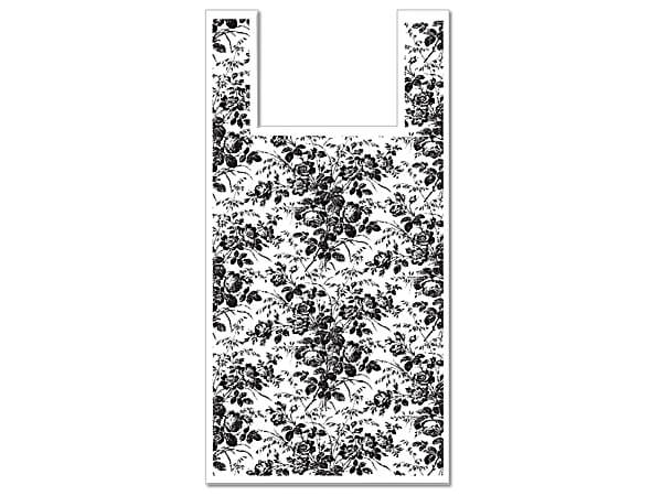 "Floral Toile Plastic T Sacks, 11.5x6.5x22"", 500 pack, .65 mil"