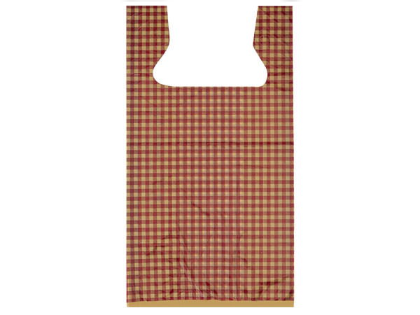 "Burgundy Gingham Plastic T Sacks, 11.5x6.5x22"", 1000 pack"
