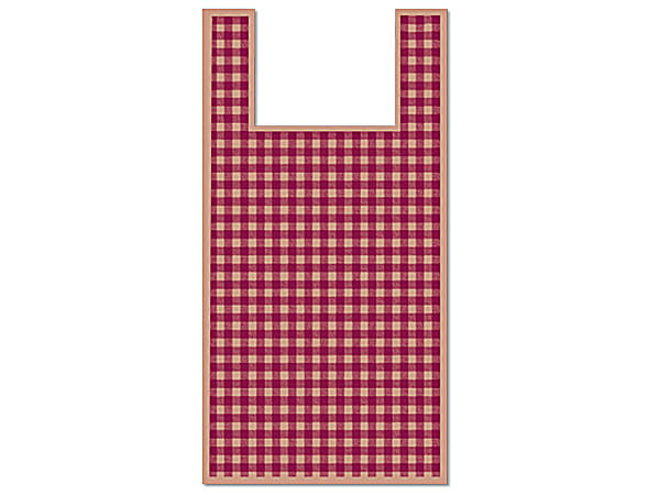 "Burgundy Gingham Plastic T Sacks, 11.5x6.5x22"", 500 pack, .65 mil"