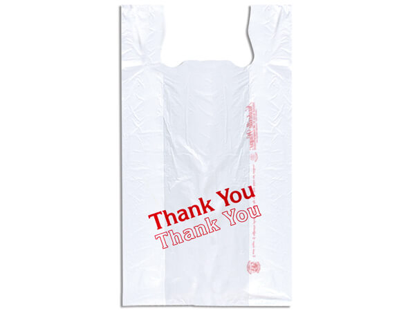 "Thank You T Sacks 12x7x22"" White Recycled T-sacks .55 mil"