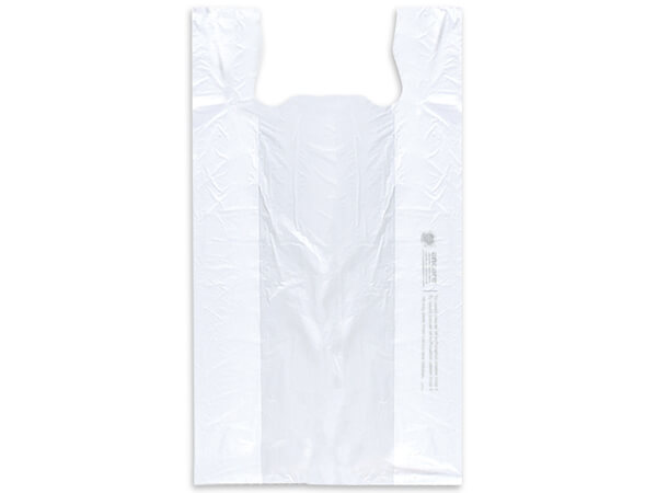 "White Economy T Sacks 12x7x22"" Recycled White .55 mil"