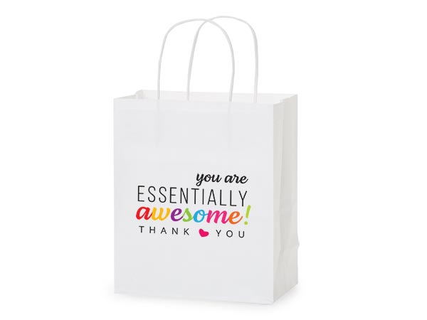"Thank You Essentially Awesome Gift Bags, Cub 8x4.75x10.25"", 5 pack"