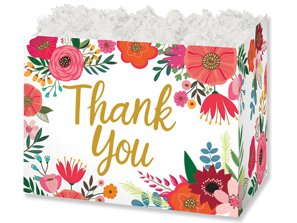 """Thank You Flowers Basket Boxes, Large 10.25x6x7.5"""", 6 Pack"""
