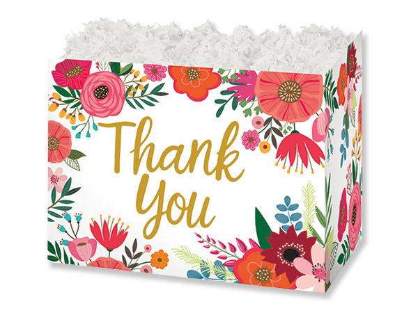 "Thank You Flowers Basket Boxes, Small 6.75x4x5"", 6 Pack"