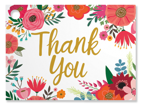 """Thank You Flowers Theme Gift Cards, 3.75x2.75"""", 6 Pack"""