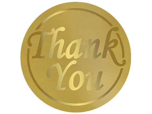 "Thank You Gold On Gold Foil Seals, Round 1-1/2"", 250 Pack"