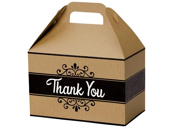 "Thank You Kraft Stripes Gable Box, 8-1/2 x 4-3/4 x 5-1/2"", Pack 6"