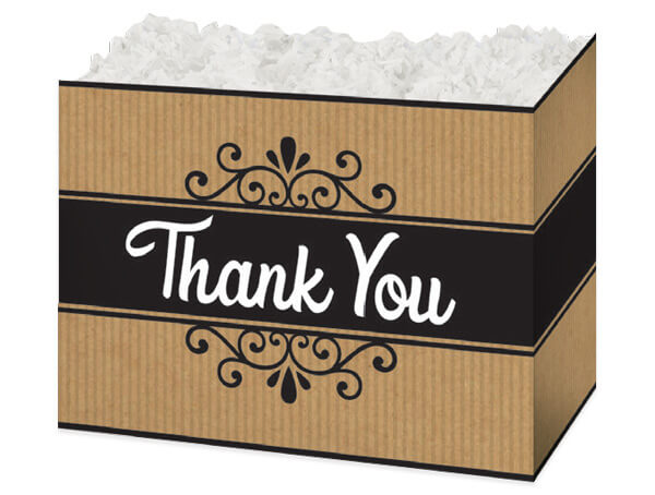 Large Thank You Kraft Stripes Basket Boxes 10-1/4x6x7-1/2""