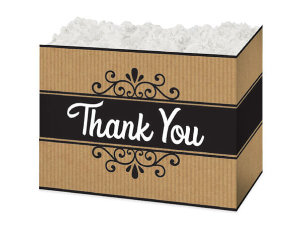 "Thank You Kraft Stripes Basket Boxes, Small 6.75x4x5"", 6 Pack"