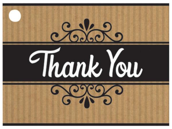 "Thank You Kraft Stripes Theme Gift Cards 3-3/4x2-3/4"""