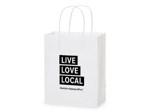 "Thank You Live, Love, Local Gift Bags, Cub 8x4.75x10.25"", 5 pack"