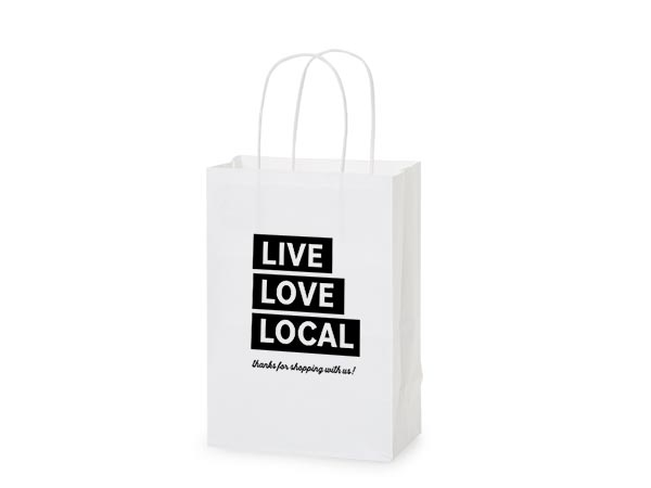 """Thank You Live, Love, Local Gift Bags, Rose 5.5x3.25x8.25"""", 5 pack"""