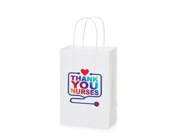 "Thank You Nurses Gift Bags, Rose 5.5x3.25x8.25"", 5 pack"