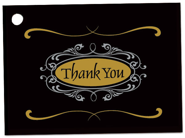 """Thank You Script Theme Gift Cards 3-3/4x2-3/4"""""""