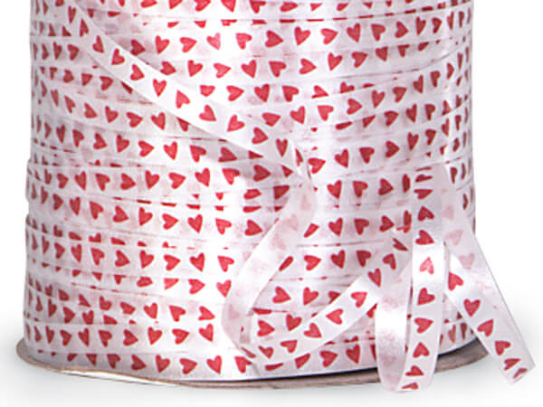 "Red Hearts on White Curling Ribbon, 3/16""x500 yards"