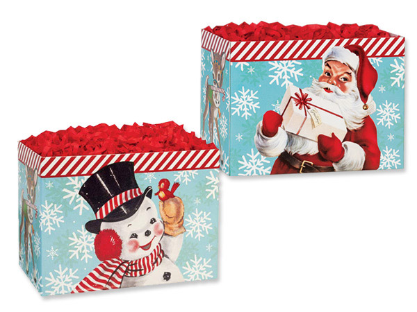"Vintage Christmas Basket Boxes Small 6.75x4x5"", 6 Pack"
