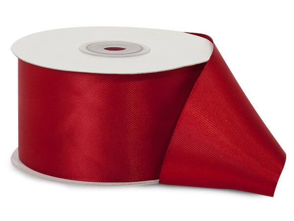 """Deep Red Double Faced Satin Ribbon, 2""""x25 yards"""