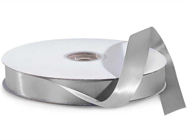 "Silver Double Faced Satin Ribbon, 5/8""x100 yards"