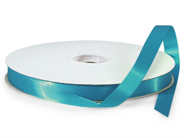 "Caribbean Teal Double Faced Satin Ribbon, 5/8""x100 yards"