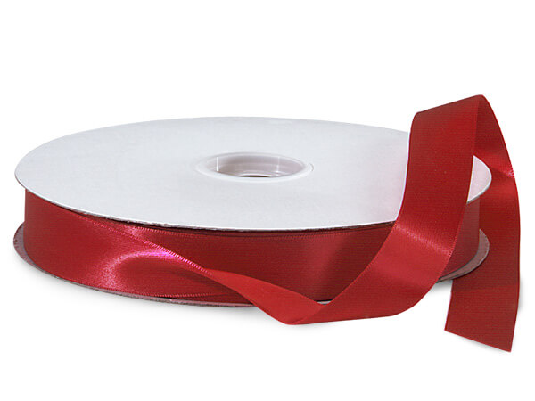 "Deep Red Double Faced Satin Ribbon, 7/8""x100 yards"