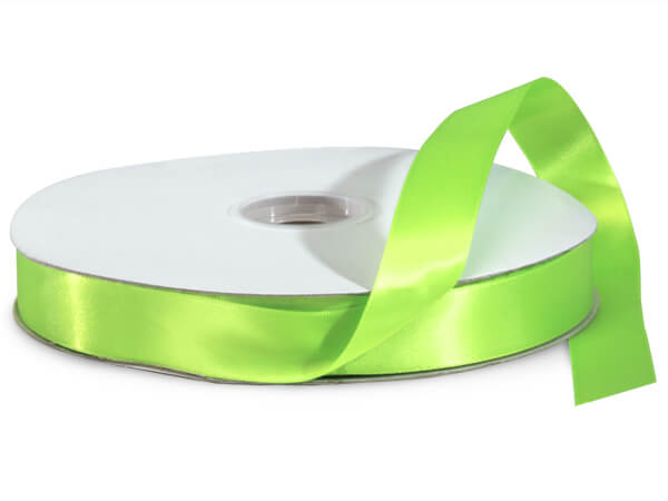 "Chartreuse Green Double Faced Satin Ribbon, 7/8""x100 yards"