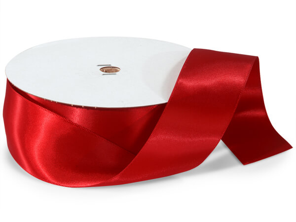 "Red Double Faced Satin Ribbon, 1-1/2""x50 yards"